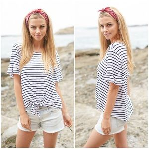 ✨LAST ONE✨Navy Striped Tie Front Top